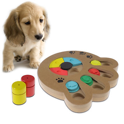Pet Dog Wooden Paw Game IQ Training Toy Interactive Food Dispensing Puzzle Plate