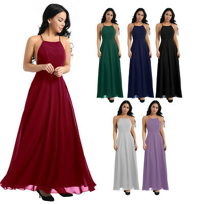 Women Backless Long Maxi Chiffon Bridesmaid Dress Evening Party Prom Formal Gown