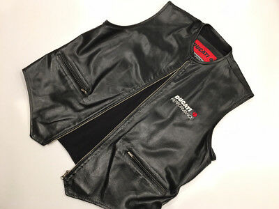 AWESOME! Rare DUCATI Mens Leather Vest Large L Italy