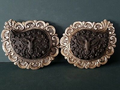 ANTIQUE Ottoman jewelry Hand-carved buffalo horn silver alloy belt buckle XIXc