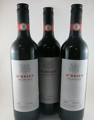 3 x THE O'BRIEN WINE COMPANY Shiraz, Adelaide Hills 2008