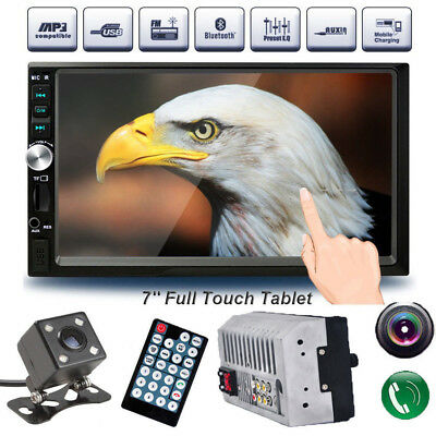 7 inch Car Stereo Mp5 Player Touch Screen Bluetooth Radio 2din HD Rear Camera US