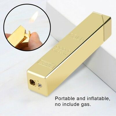 Refillable Cigarette Lighter Gold Bar Shape Metal Butane Gas BBQ Flame Lighter