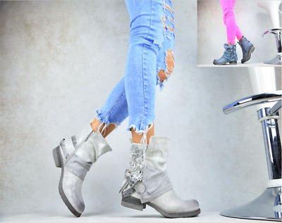Blue Designer Ladies Shoes Biker Boots Ankle Boots with Rivets Buckles Grey