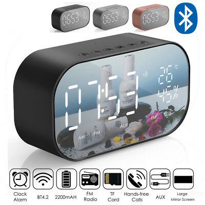 LED Mirror Digital Alarm Clock Portable Wireless Bluetooth Speakers MP3 FM Radio