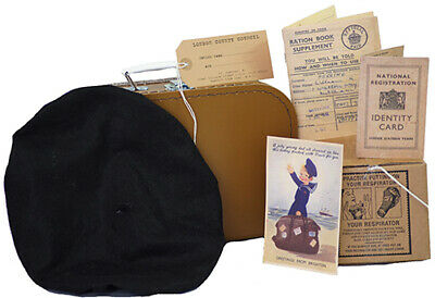 Wartime Memorabilia 1940's GIRLS Beret-Suitcase-Gas Mask Box & Accessories Set