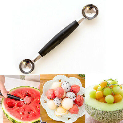 1PC Double-end Stainless Steel Melon Ice Cream Baller Scoop Fruit Spoon  NT