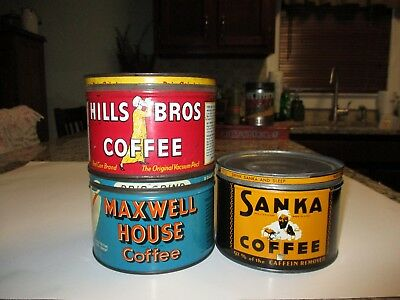 3 Vintage Coffee Cans w/lids Sanka, Hills Bros, and Maxwell House 1940's 1950's
