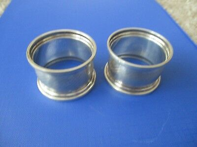 Solid Silver Matching Pair Napkin Rings 1926 Birmingham W.A.clear hallmarks