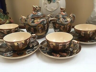 A Meiji Period Japanese Satsuma Part Tea Set Decorated In The Thousand Faces