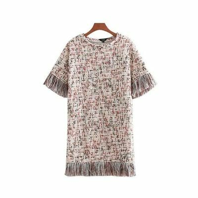 Plaid Pattern Tassels Patchwork Short Sleeve O Neck Mini Dress For Women