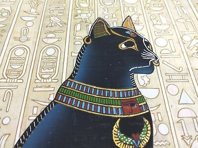 Egyptian Art Papyrus The Royal Black CAT Made in Egypt hand made(22.5 cm*33 cm)