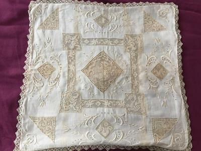 Estate Find! Antique Boudoir Pillow Sham White Embroidery Figural Filet Lace