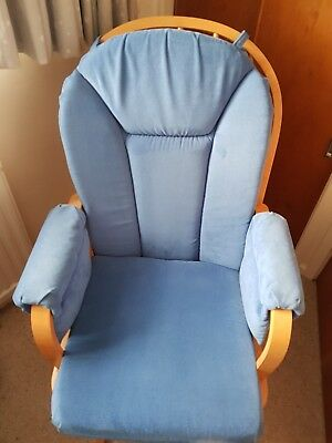 Dutailier Blue Nursing Glider Maternity Chair & Matching Gliding Footstool