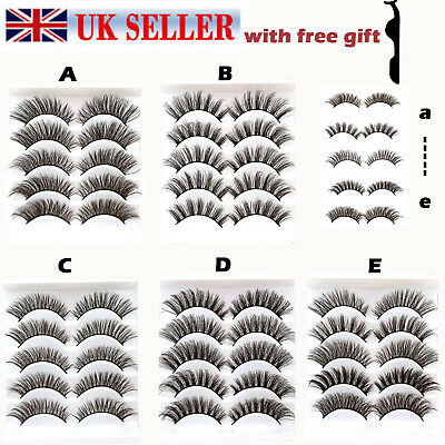 UK 5Pairs Natural Long Thick Makeup False Eyelashes Set 3D Mink Fake Eye Lashes