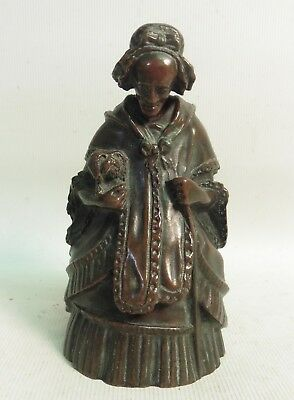 "Vict Cast Bronze Nodding Head ""old Mother Hubbard"" Table Bell"