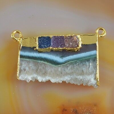 Rare Amethyst Druzy Slice & Agate Druzy Connector Gold Plated T073263