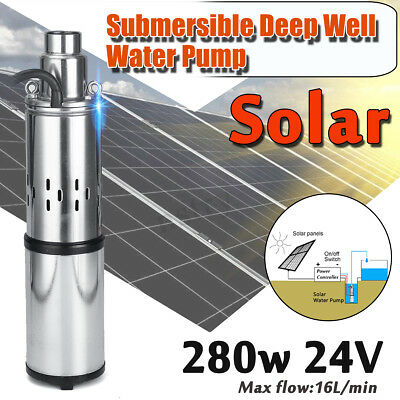 AU 24V 40M 280W 304 Steel Solar Submersible Water Deep Well Pump Bore Pond 3m³/h