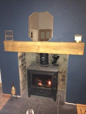 Solid Oak Wooden Beam Thick Heavy Mantel Lintel 4ft Lightly Worked Mantelpiece