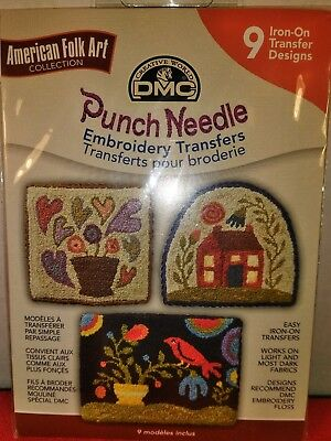 DMC PUNCH NEEDLE AMERICAN FOLK ART EMBROIDERY TRANSFERS 9 Iron On Designs New