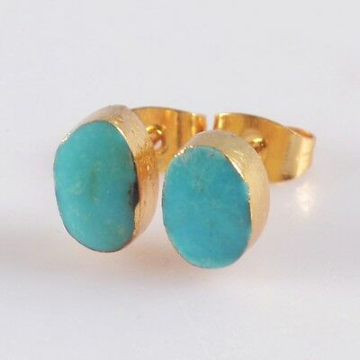 Natural Genuine Turquoise Stud Earrings Gold Plated T073275