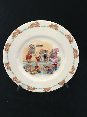 Royal Doulton Bunnykins Tea Plate 1959-1975 'Ticket Queue' SF109 Walter Hayward