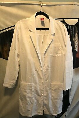 Dickies Unisex 40 Inch Lab Coat White Small (PRE-OWNED)