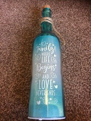 LED Wine Bottle 'Family! Where Life Begins And Love Never Ends'