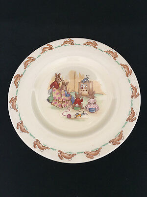 "Royal Doulton Bunnykins 7.5"" Plate 1959-1975 Watching TV? poss Walter Hayward?"