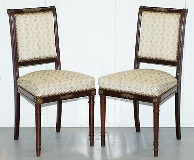 Vintage French Empire Mahogany Napoleon Style Dining Chairs Pair Ormolu Mounts
