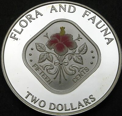 BAHAMAS 2 Dollars 1995 Proof - Silver - Hibicus flower - 1942 ¤