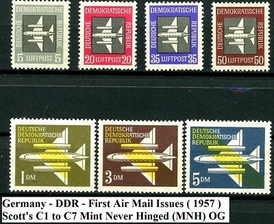 Germany DDR 1957 Air Mail Issues Stylized Plane Complete Set of 7 MNH C1 to C7