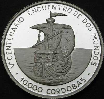 NICARAGUA 10000 Cordobas 1990 Proof - Silver - Discovery of America - 1981 ¤