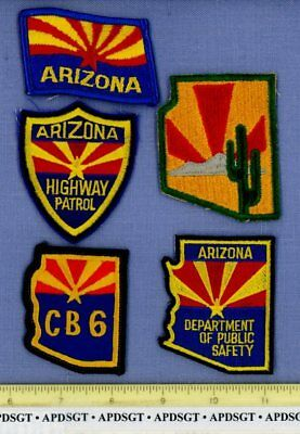 ARIZONA DPS HIGHWAY PATROL CB 5 Hat Patches Sheriff Police Patch STATE SHAPE