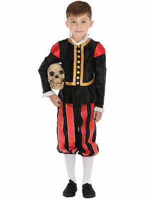 Boys William Shakespeare Costume Medieval Tudor Fancy Dress Book Day Outfit