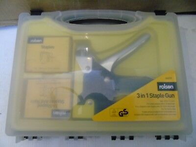 Rolson 3-in-1 Staple Gun With 600 Staples u Shaped & nails & Staples Carry Case
