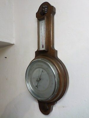 Vintage Carved Oak Case Banjo Barometer Thermometer 'SB' Made In England 1940's