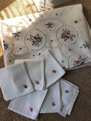 Vintage Cloth Tablecloth & 6 Napkins-Floral Cross-Stitched