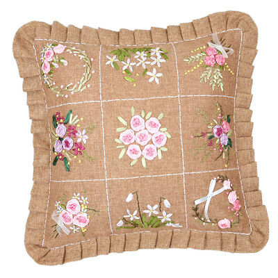 Ribbon Embroidery Kit Pillow Case Stamped Cross Stitch DIY Craft Home Decor