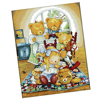 Handmade Ribbon Embroidery Bear Family Painting Kit Stamped Cross Stitch DIY
