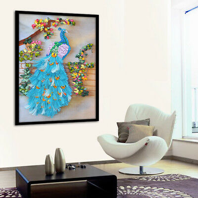 Handmade Ribbon Embroidery Peacock Painting Kit Stamped Cross Stitch DIY