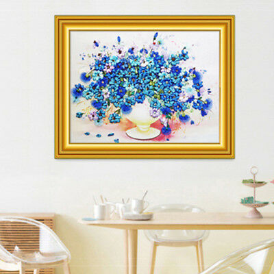 Handmade Ribbon Embroidery Flower Painting Kit Stamped Cross Stitch DIY