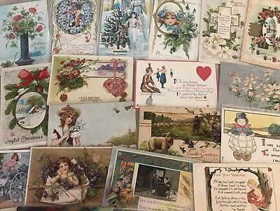 Nice Lot of 25 Vintage Mixed Holiday & Greetings Postcards-in Sleeves-a583
