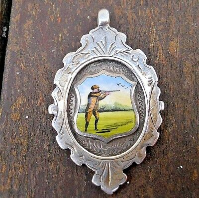 Vintage Edwardian Silver And Enamel Painted Hunting Scene Medal Fob Hallmarked