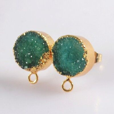 10mm Green Agate Druzy Geode Stud Post With Loop Earrings Gold Plated T073299