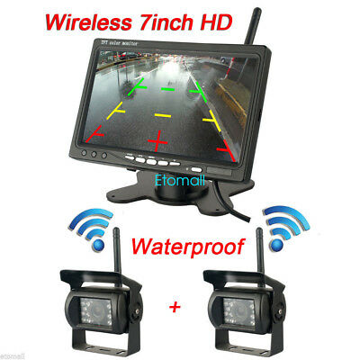 """Built-in Wireless Rear view Backup 2x Camera+7"""" Monitor for Truck Trailer 12-24V"""