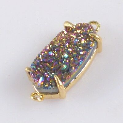 14x7mm Natural Agate Titanium Druzy Claw Prong Connector Gold Plated B076108