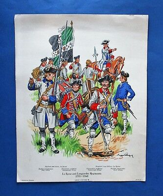 Vintage French La Reine & Languedoc Regiments 1755-1760 Canada Uniform Print