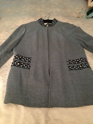 St. John Collection By Marie Gray Knit Jacket With Embroidered Detail Sz 10