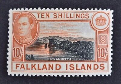 Falkland Islands, KGVI, 1938, 10s. black & orange-brown, SG 162, LMM, Cat £200.